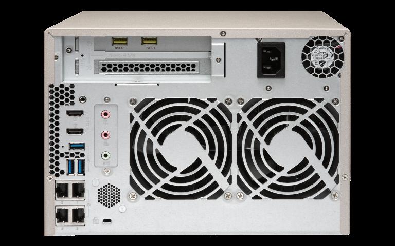 The QNAP TVS-673 Gold NAS 6-Bay AMD R7 Quad Core CPU 8-64GB DDR4, USB 3.1 plex