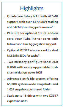 DS181+ SPECS AND HARDWARE LIST SUMMARY