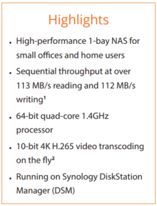 DS118 1-Bay NAS Specs and Data Sheets available 2